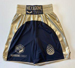 Short de boxe anglaise pro personnalisé hexagone combat rainbow
