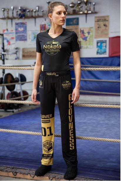 Tenue de Savate Boxe Française Nokefa femme pantalon t-shirt face