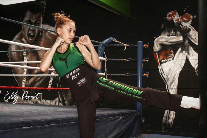 Tenue pantalon débardeur de Savate Boxe Française personnalisé Hexagone Combat asc chevigny photographe eddy pernot